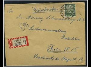 BUND 1958 interessanter Einschreibe-Brief (47960)
