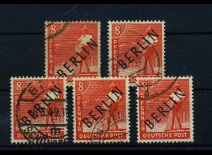 BERLIN 1949 5x Nr 3 sauber rundgestempelt (68558)