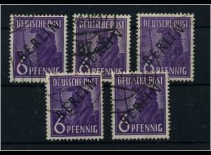 BERLIN 1949 5x Nr 2 sauber rundgestempelt (68559)