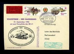 DDR interessanter Bahnpostbeleg 1986 (70845)