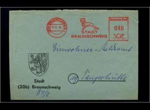 BRAUNSCHWEIG 1950 Freistempelbeleg in die DDR (70934)