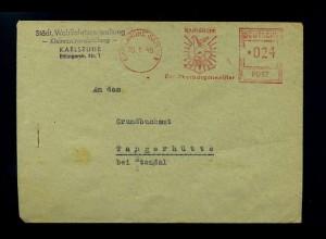 KARLSRUHE 1948 Freistempelbeleg in die DDR (70935)