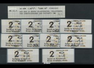 FINNLAND 1993 ATM 10x Nr 12.6 gestempelt (78193)