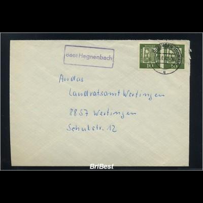 BUND 1962 Brief mit Landpoststempel HEGNENBACH (83229)