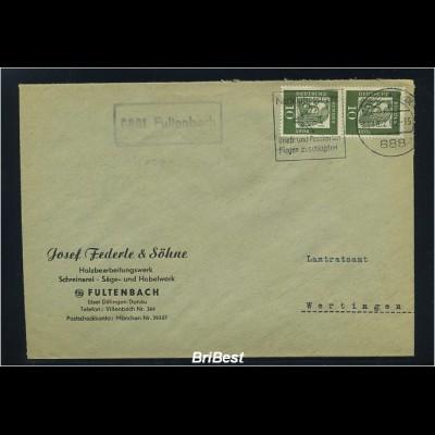BUND 1962 Brief mit Landpoststempel FULTENBACH (83237)