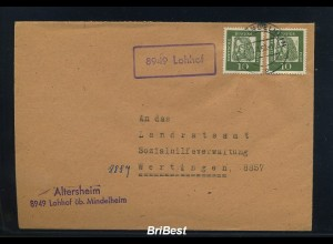 BUND 1962 Brief mit Landpoststempel LOHHOF (83240)