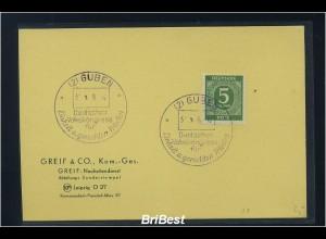 KONTROLLRAT 1948 Sonderstempelbeleg GUBEN (83696)