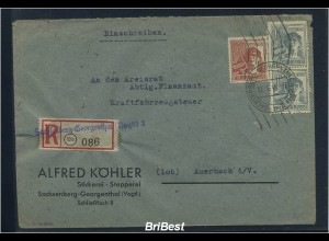 KONTROLLRAT 1948 interessanter Einschreibe-Brief (83714)