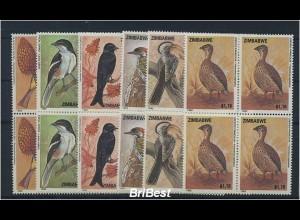 SIMBABWE 1992 VB-SATZ Motiv: VOEGEL postfrisch (85229)