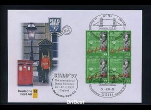BUND 1997 Viererblock-Schmuck ersttagsbrief (86288)