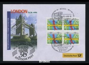 BUND 1998 Viererblock-Schmuck ersttagsbrief (86296)