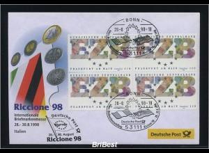 BUND 1998 Viererblock-Schmuck ersttagsbrief (86297)
