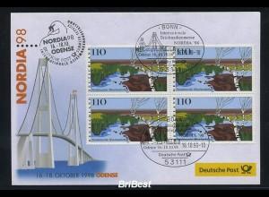 BUND 1998 Viererblock-Schmuck ersttagsbrief (86298)
