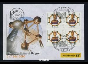 BUND 2000 Viererblock-Schmuck Ersttagsbrief (86306)