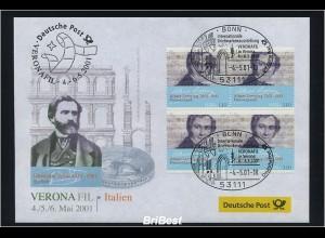 BUND 2001 Viererblock-Schmuck Ersttagsbrief (86319)