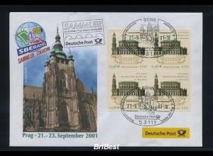 BUND 2001 Viererblock-Schmuck Ersttagsbrief (86320)