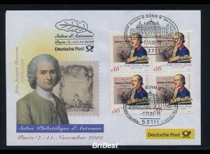 BUND 2002 Viererblock-Schmuck Ersttagsbrief (86328)