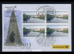 BUND 2003 Viererblock-Schmuck Ersttagsbrief (86334)