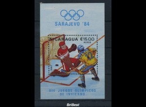 NICARAGUA 1984 Block postfrisch EISHOCKEY (86460)