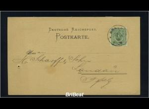Karte 1886 mit K1 MANNHEIM (86621)