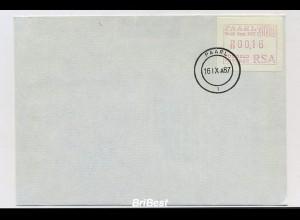 SUEDAFRIKA 1987 ATM Nr 4 auf FDC (86758)