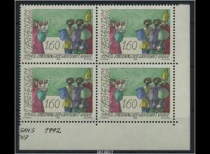 LIECHTENSTEIN 1992 Nr 1049 Viererblock postfr (87274)