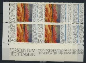LIECHTENSTEIN 1991 Nr 1016-19 Viererblock postfr (87279)