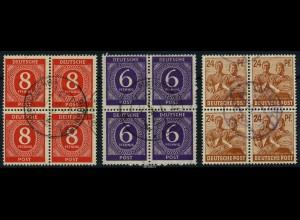 KONTROLLRAT 1947 3 gestempelte Viererblöcke (88061)