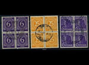 KONTROLLRAT 1947 3 gestempelte Viererblöcke (88062)