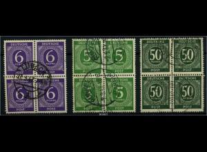 KONTROLLRAT 1947 3 gestempelte Viererblöcke (88064)
