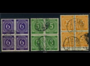 KONTROLLRAT 1947 3 gestempelte Viererblöcke (88065)