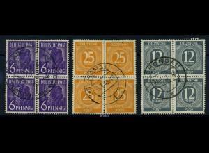 KONTROLLRAT 1947 3 gestempelte Viererblöcke (88067)