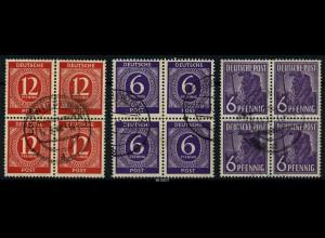 KONTROLLRAT 1947 3 gestempelte Viererblöcke (88068)