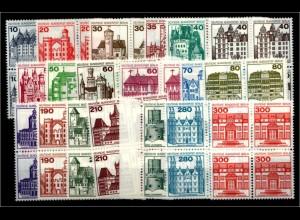 BERLIN Lot Burgen VIERERBL. postfrisch ME 140.- (94740)