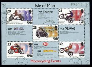 ISLE OF MAN 1993 Motivblock MOTORRAD gestempelt (95940)
