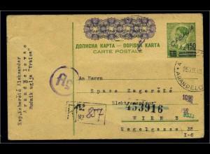 BES. II. WK. SERBIEN 1942 Ganzsache P3 gestempelt (102803)