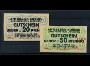 2 Notgeldscheine 1921 KOBERG siehe Beschreibung (103722)