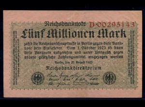 5Mio. Mark 1923 Reichsbanknote siehe Beschreibung (103743)