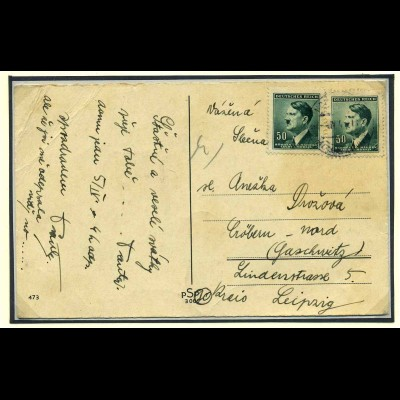 BOEHMEN+MAEHREN 1939 Postkarte gestempelt (108242)