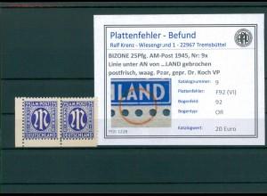 BIZONE 1945 Nr 9x F92(VI) postfrisch (204323)