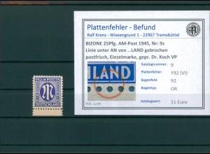 BIZONE 1945 Nr 9z F92(VI) postfrisch (204324)