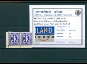 BIZONE 1945 Nr 9z F92(VI) postfrisch (204325)