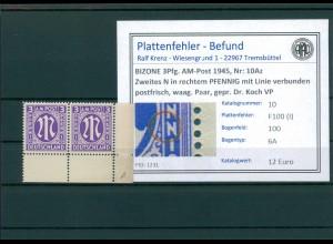 BIZONE 1945 Nr 10Az F100(I) postfrisch (204326)