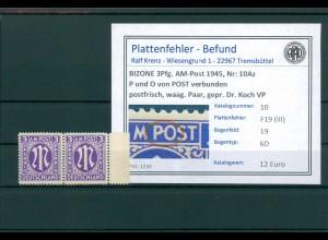 BIZONE 1945 Nr 10Az F19(III) postfrisch (204327)