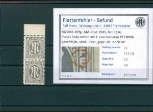BIZONE 1945 Nr 11Az F15(I) postfrisch (204330)