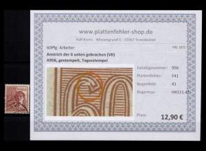 KONTROLLRAT 1947 PLATTENFEHLER Nr A956 F41 gestempelt (206514)