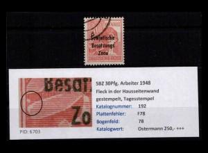SBZ 1948 PLATTENFEHLER Nr 192 F78 gestempelt (402378)