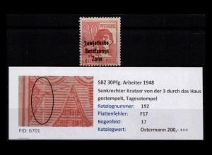 SBZ 1948 PLATTENFEHLER Nr 192 F17 gestempelt (402382)