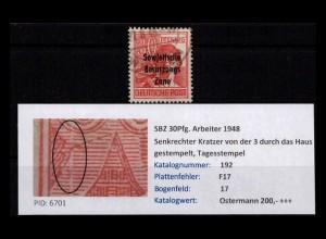 SBZ 1948 PLATTENFEHLER Nr 192 F17 gestempelt (402384)