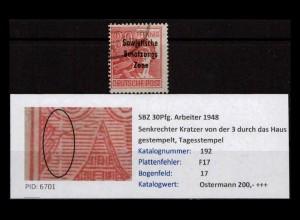 SBZ 1948 PLATTENFEHLER Nr 192 F17 gestempelt (402385)